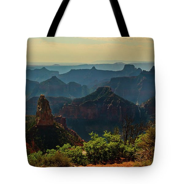 Tote Bag featuring the photograph North Rim Grand Canyon Imperial Point by Bob and Nadine Johnston