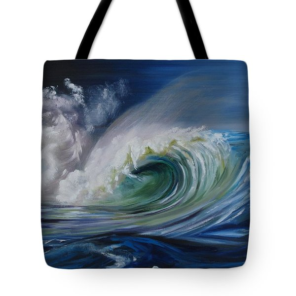 Tote Bag featuring the painting North Shore Curl by Donna Tuten