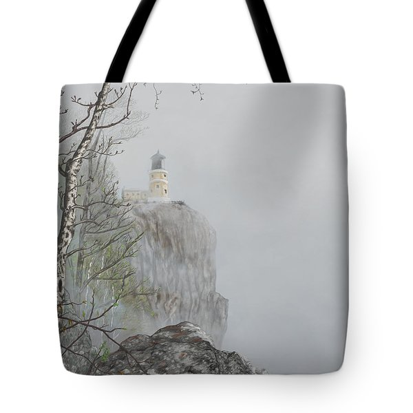 North Shore Lighthouse In The Fog Tote Bag