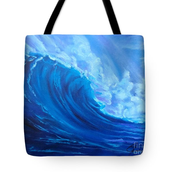 Tote Bag featuring the painting Wave V1 by Jenny Lee