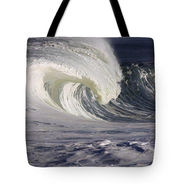 North Shore Wave Curl Tote Bag by Vince Cavataio