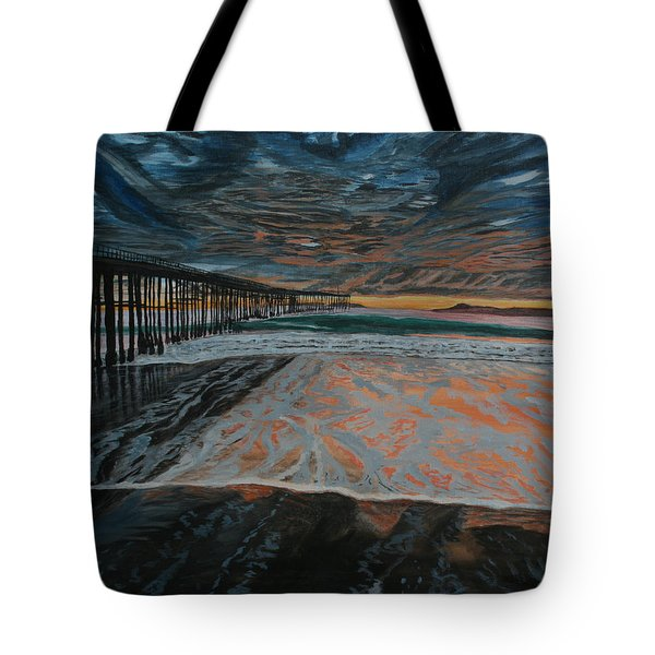 Tote Bag featuring the painting North Side Of The Ventura Pier by Ian Donley