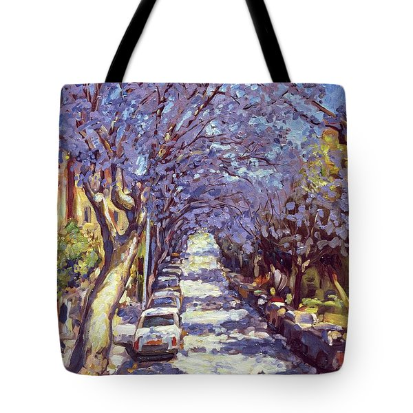North Sydney Jacaranda Tote Bag by Ted Blackall
