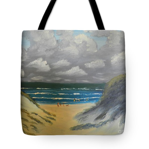 Tote Bag featuring the painting North Windang Beach by Pamela  Meredith