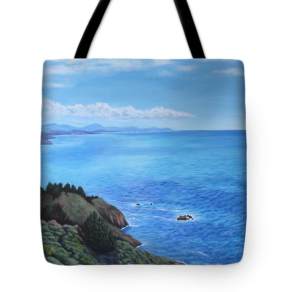 Tote Bag featuring the painting Northern California Coastline by Penny Birch-Williams