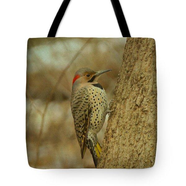 Northern Flicker On Tree Tote Bag
