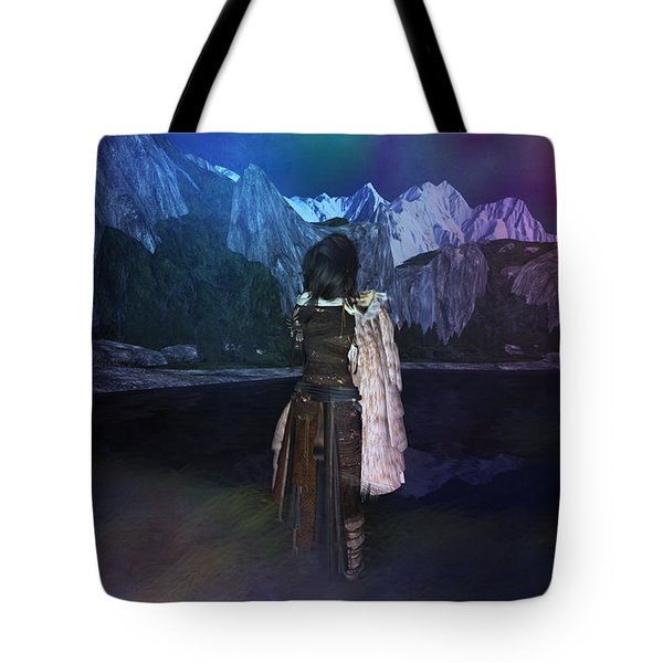 Tote Bag featuring the digital art Northern Lights by Kylie Sabra