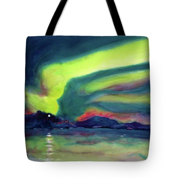 Northern Lights On Superior Shores Tote Bag by Kathy Braud