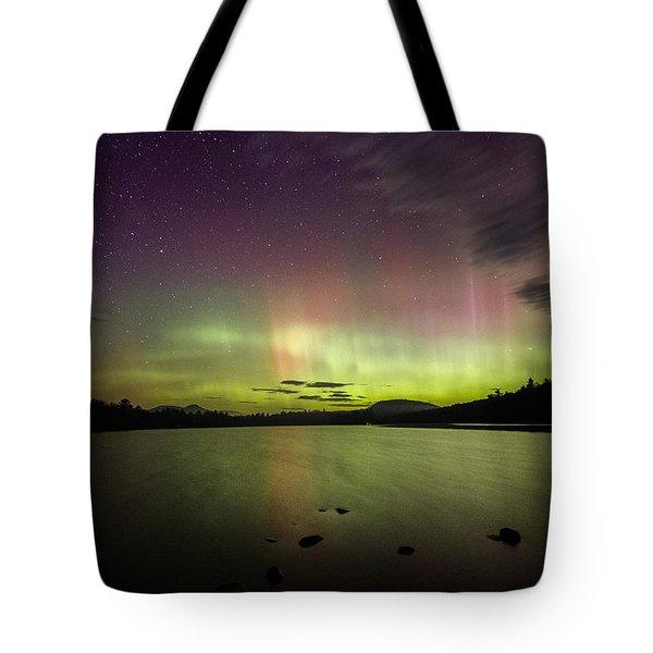 Northern Lights Over Ricker Pond Tote Bag