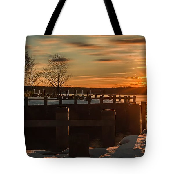 Northport New York Winter Sunset Tote Bag