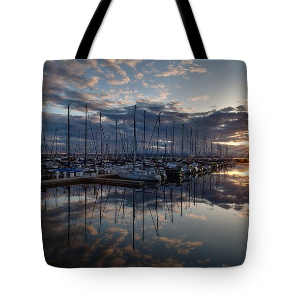 Northwest Marina Sunset Sunstar Tote Bag by Mike Reid
