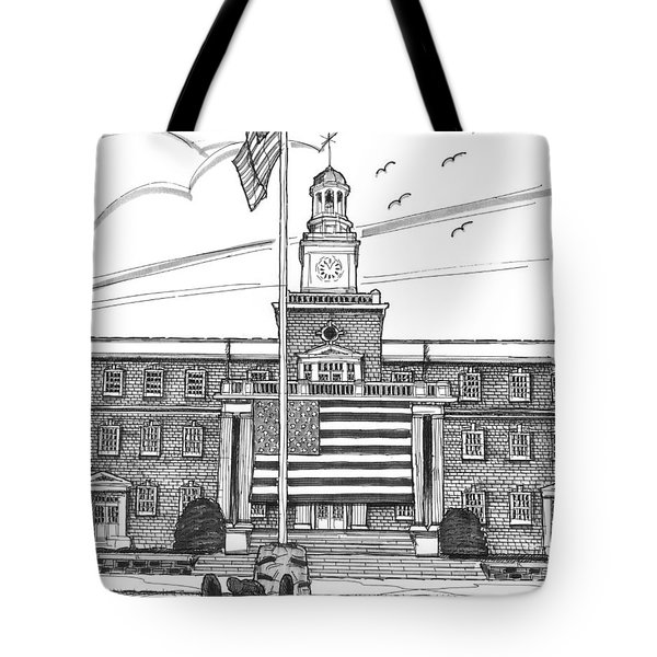 Tote Bag featuring the drawing Norwich University Jackman Hall by Richard Wambach