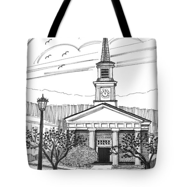 Tote Bag featuring the drawing Norwich University White Chapel by Richard Wambach