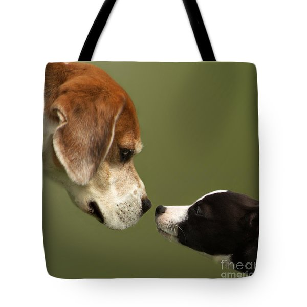 Nose To Nose Dogs 2 Tote Bag by Linsey Williams