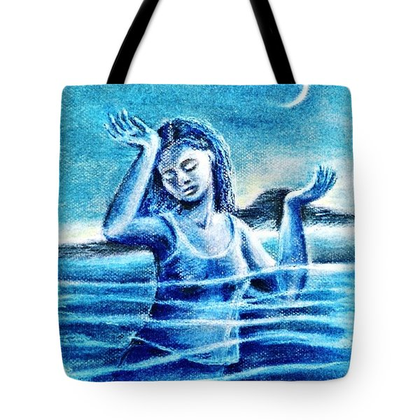 Tote Bag featuring the painting Not Waving But Drowning by Trudi Doyle