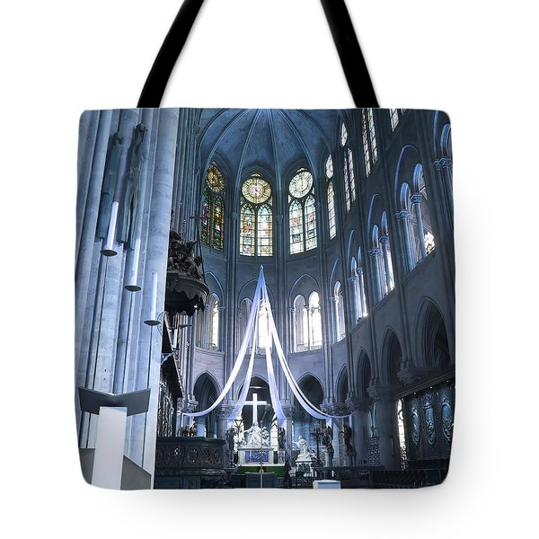 Notre Dame Altar Teal Paris France Tote Bag