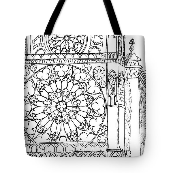 Tote Bag featuring the drawing Notre Dame Sketch by Mary Bedy