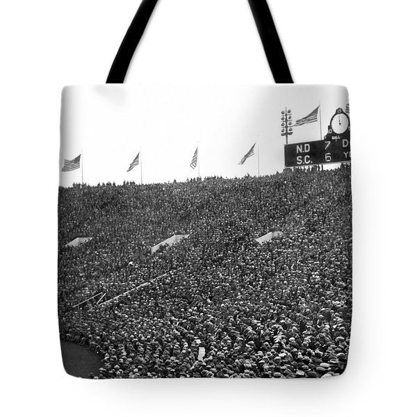 Notre Dame-usc Scoreboard Tote Bag by Underwood Archives