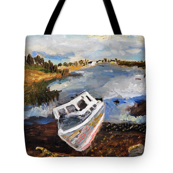 Tote Bag featuring the painting Nova Scotia Fishing Boat by Michael Helfen