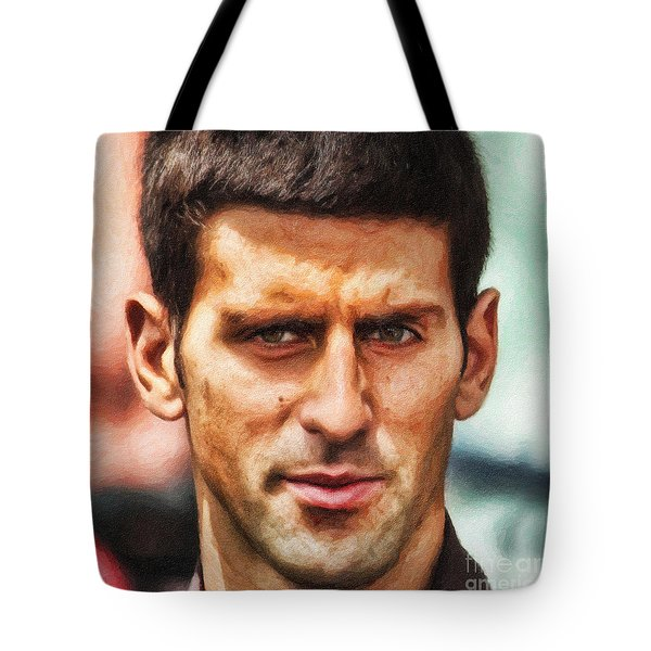 Novak Djokovic Tote Bag by Nishanth Gopinathan