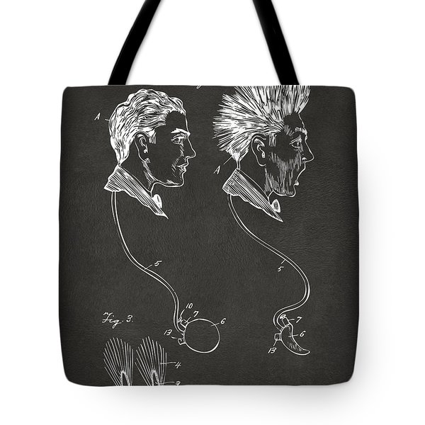 Novelty Wig Patent Artwork Gray Tote Bag