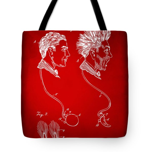 Novelty Wig Patent Artwork Red Tote Bag