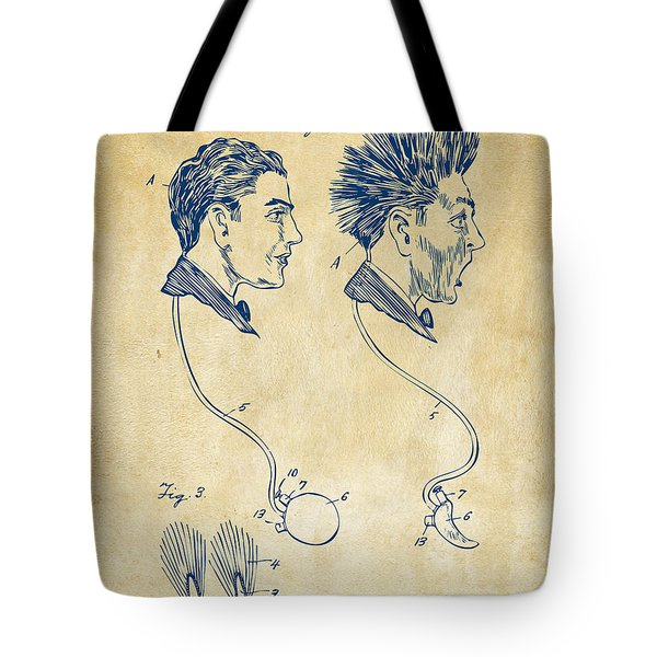 Novelty Wig Patent Artwork Vintage Tote Bag