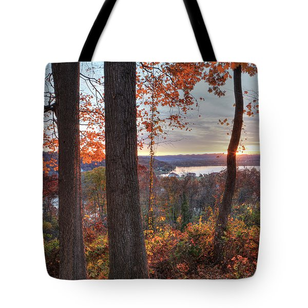 November Morning At The Lake Tote Bag by Jaki Miller