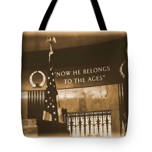 Tote Bag featuring the photograph Now He Belongs To The Ages by Luther Fine Art