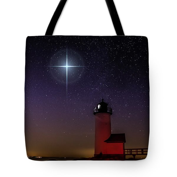 Star Over Annisquam Lighthouse Tote Bag