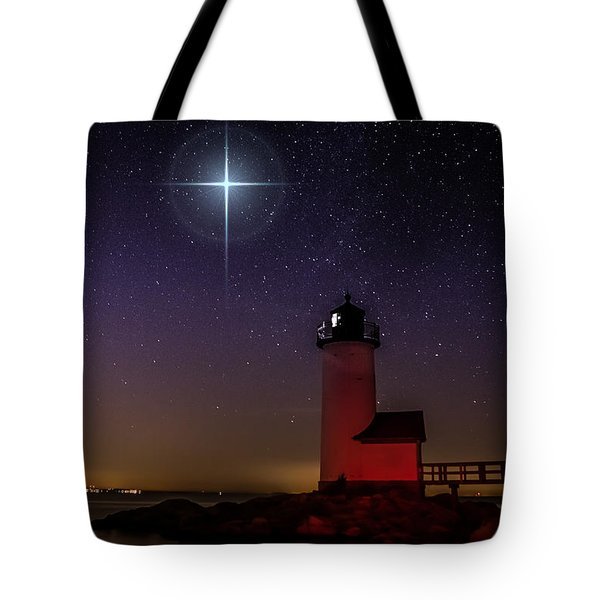 Tote Bag featuring the photograph Star Over Annisquam Lighthouse by Jeff Folger