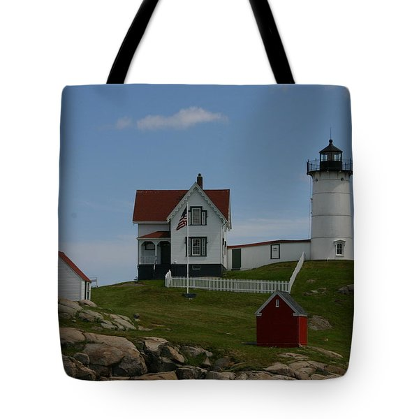 Tote Bag featuring the photograph Nubble Light House York Maine by Denyse Duhaime