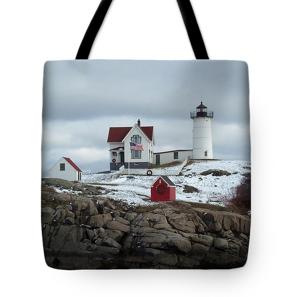 Tote Bag featuring the photograph Nubble Light In December by Barbara McDevitt