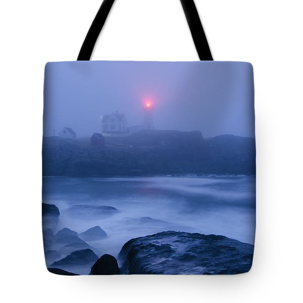 Nubble Light In Foggy Dawn Tote Bag