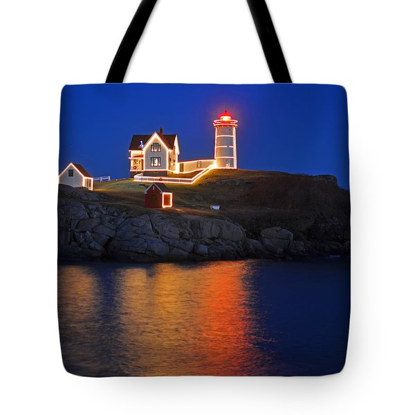 Nubble Light In York Me Cape Neddick Christmas Blue Sky Tote Bag