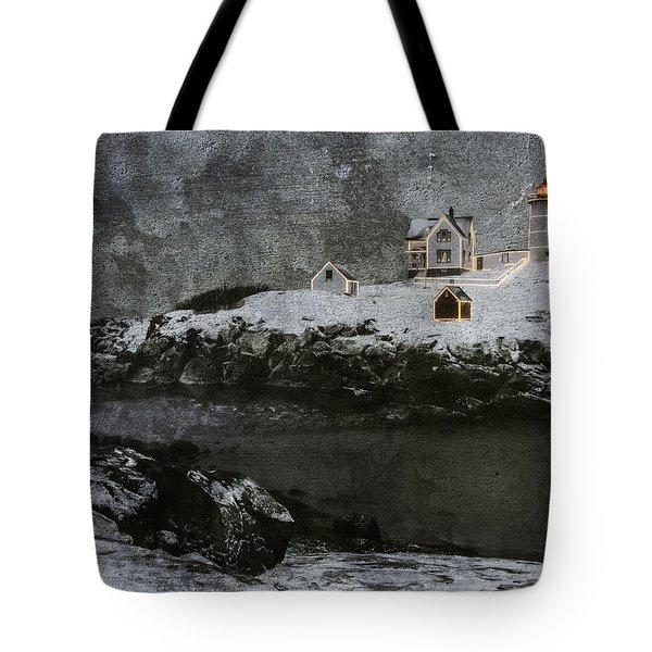 Nubble Light Stormy Night Tote Bag