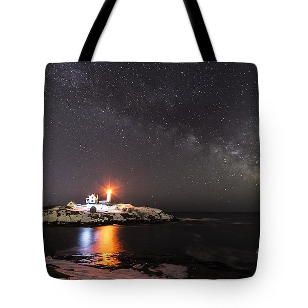 Nubble Light With Milky Way Tote Bag