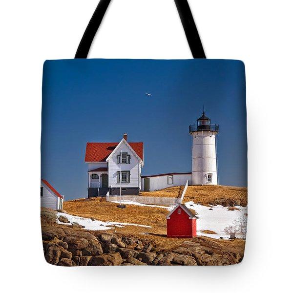 Nubble Lighthouse 3 Tote Bag by Joann Vitali