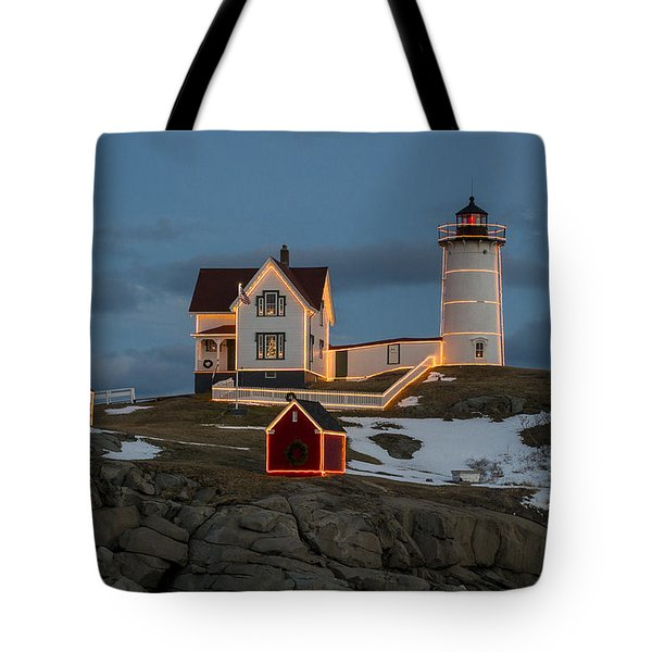 Nubble Lighthouse At Christmas Tote Bag by Steven Ralser