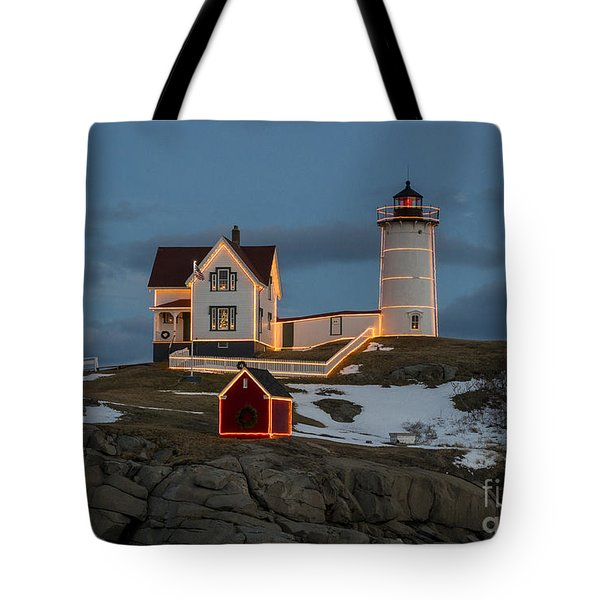 Nubble Lighthouse At Christmas Tote Bag