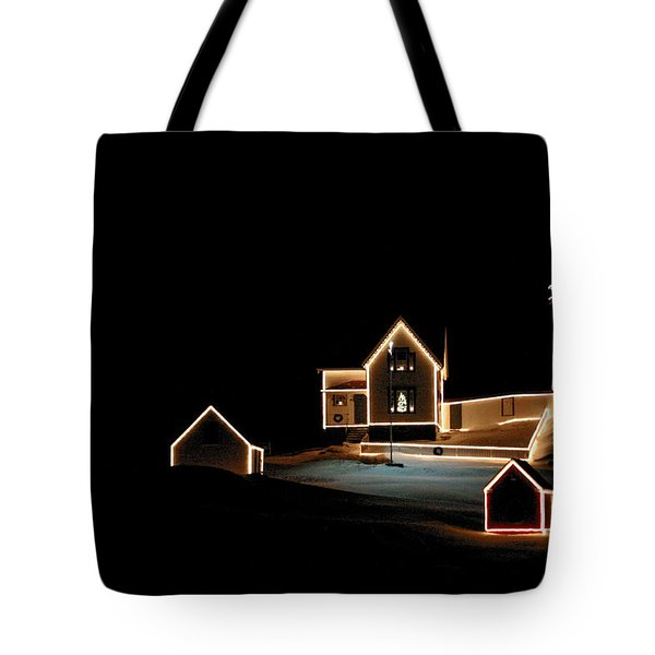 Nubble Lighthouse Christmas Lights Tote Bag by Denyse Duhaime