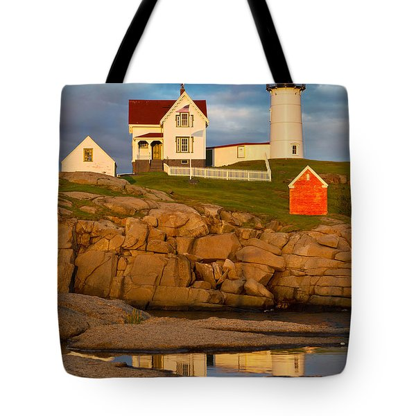 Tote Bag featuring the photograph Nubble Lighthouse No 1 by Jerry Fornarotto