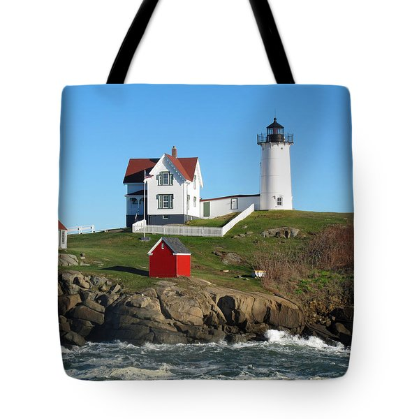 Nubble Lighthouse One Tote Bag by Barbara McDevitt