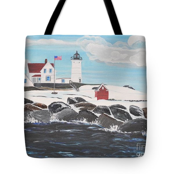 Nubble Lighthouse Tote Bag by Sally Rice