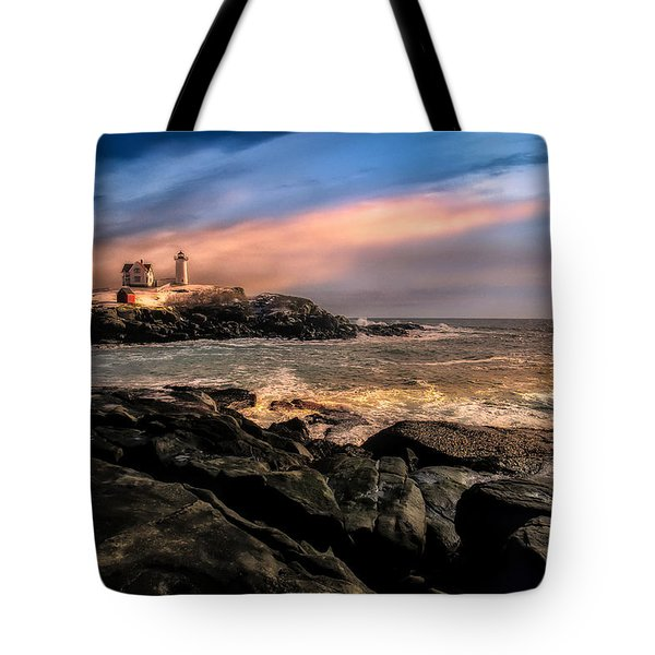 Nubble Lighthouse Winter Solstice Sunset Tote Bag by Bob Orsillo