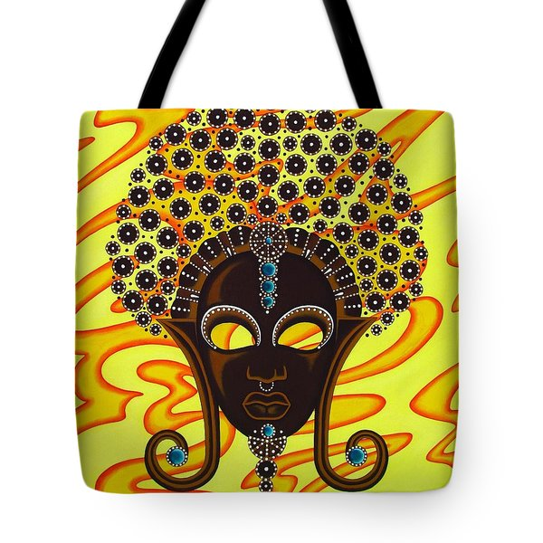 Nubian Modern Afro Mask Tote Bag by Joseph Sonday