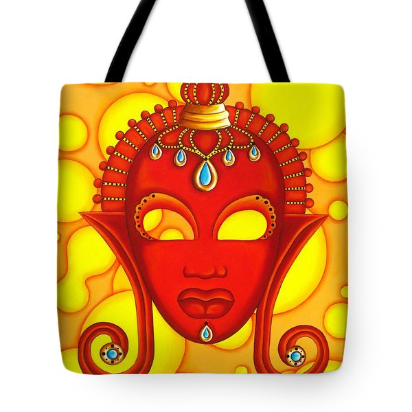 Nubian Modern Mask Red Tote Bag by Joseph Sonday