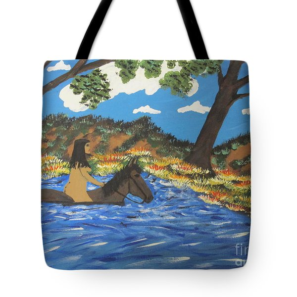 Tote Bag featuring the painting Nude And Bareback Swim by Jeffrey Koss