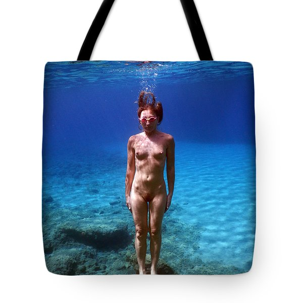 Nude Girl In To The Sea Tote Bag