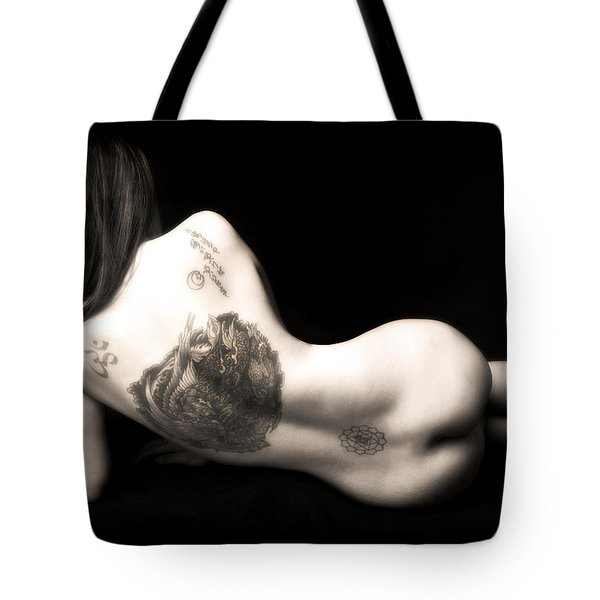 Tote Bag featuring the photograph Nude Tattoos by Jennifer Wright